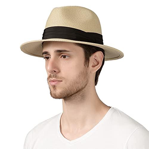 "Lanzom Men Wide Brim Straw Foldable Roll up Hat Fedora Summer Beach Sun Hat UPF50+ (B-Beige, Medium Size:Fit for 22.5""-23"")"