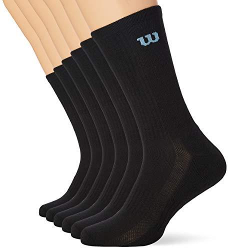Wilson Herren Crew Socken (6er Pack), Schwarz, 43-46