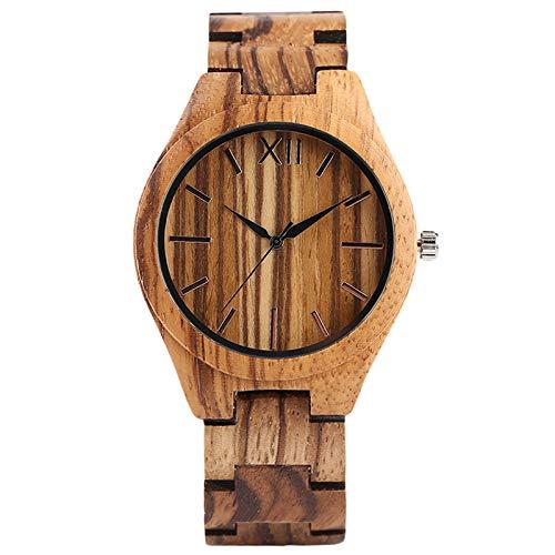 IOMLOP Wood Watch Minimalistische Herrenuhren Retro Clock Wood Quartz Clock Damen Kreative Full Bamboo Armreif Casual Sports, braun