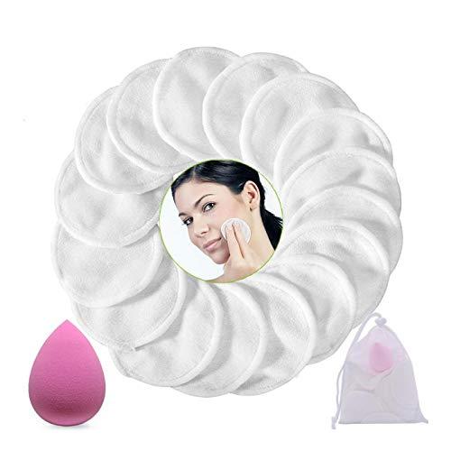 Tobao 16Pcs Discos Desmaquillantes Reutilizables con 1 Esponja Maquillaje y 1 Bolsa de Lavandería, Almohadillas Desmaquillantes para Limpieza Facial, Limpiador Faciales para Ojos Labios Cara