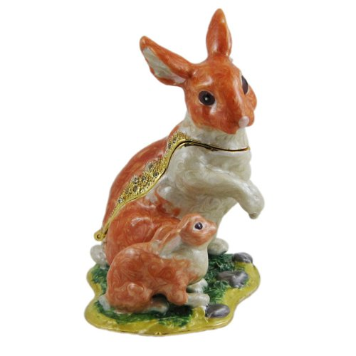 Image of Pretty Rabbit with Baby Bunny Collectible Box