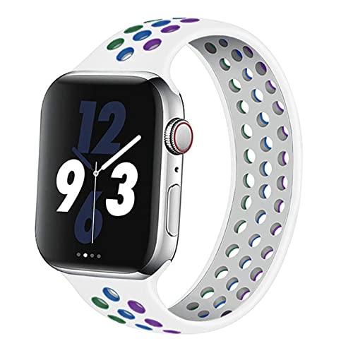 FYWWJ Correa para Apple Watch Band 44 mm, 40 mm, 38 mm, 42 mm, correa elástica transpirable de silicona para iwatch Series 3, 4, 5, SE, 6, Rainbow blanco, 42 mm o 44 mm, XS