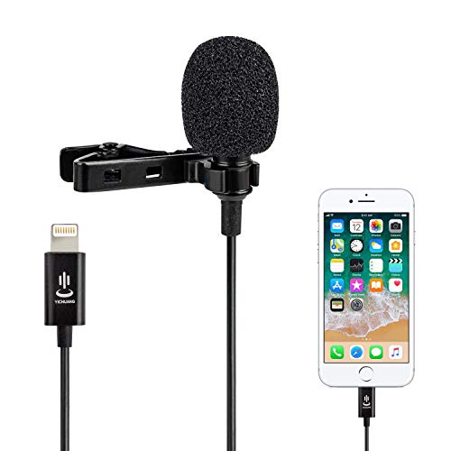 Lavalier Mikrofon für Handy,Omnidirektionales Kondensator Lapel Mic für iPhone X/XS/XR/SE/11/8/7/6/5 / iPad, YouTube Video Interview(1.5M)