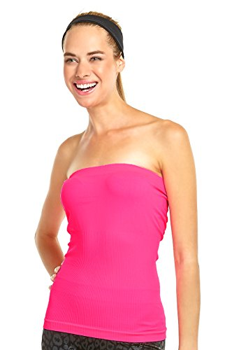 Women's Soft and Sexy Medium Length Tube Top (Hot Pink)