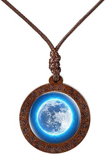 BEISUOSIBYW Co.,Ltd Collar Galaxia Nebulosa Collar Espacio Tierra Cristal cabujón Madera Colgante Collar joyería para Mujeres Hombres