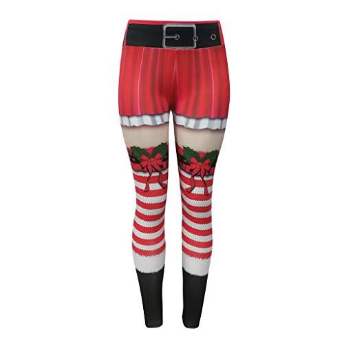 cinnamou Weihnachten Hose Damen Frauen Weihnachtsdruck hohe Taillen Gamaschen Eignungs Sport, athletische Hosen Laufen lässt Hochelastische, Yogahose mit Weihnachtsmotiv und hohem Bund