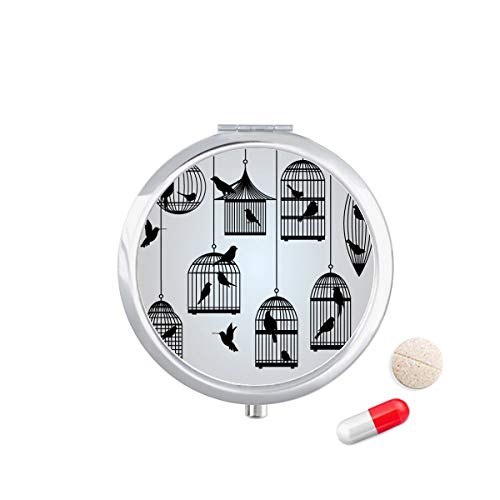 DIYthinker Illustratie Vogels kooi Silhouette Travel Pocket Pill Case Medicine Drug Opbergdoos Dispenser Spiegel Gift