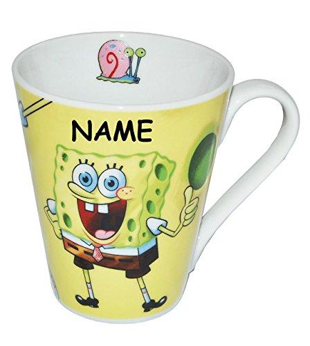 alles-meine.de GmbH Tasse groß -  Spongebob Schwammkopf  - Porzellan / Keramik - incl. Name - Trinktasse mit Henkel / Henkeltasse Becher - Mädchen Jungen Schwammkopf Robert - P..
