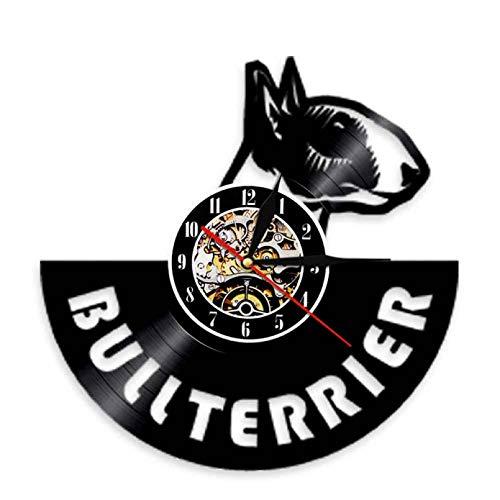 ZZLLL Reloj de Pared silencioso con Disco de Vinilo de Bulldog inglés, Reloj en Espiral para Perro, Reloj de Pared para Cachorro y Cachorro, Regalo Maestro Bull Terrier - Sin LED