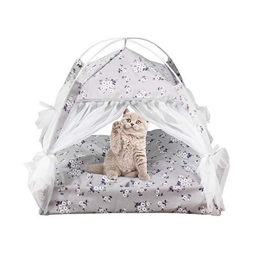 Ryoizen Tenda per Gatti/Cani Cuccia per Animali in Tela Portatile Lettini per Gatti Animali Domestici Rimovibile Lavabile in Stile Floreale con Cuscino per Gatti Cani(Floreale/Grigio, Medium)