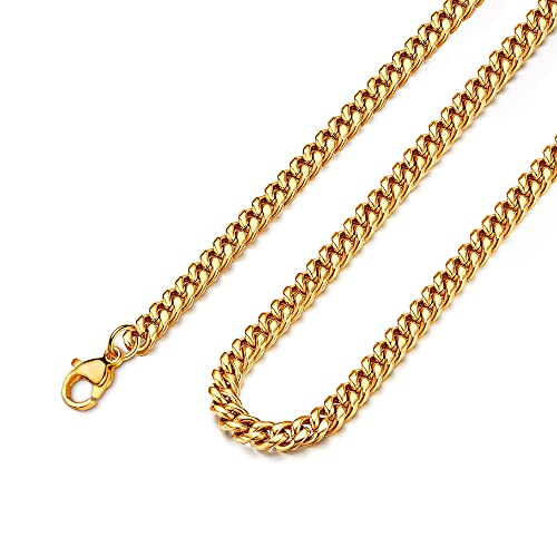 18k Real Gold Plated Curb Cuban Chain Necklace Stainless Steel Link Necklace for Men Women 11mm 16 Inches