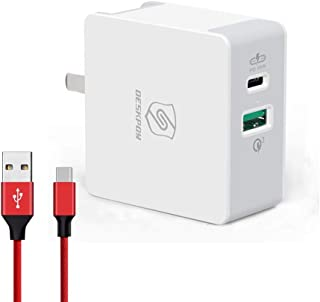 45W PD Wall Charger USB-C - 45W Adapter with USB-C PD & USB 3.0 Port Compatible with iPhone 11 iPhone 11 Pro/Pro Max/Xs Max/XS/XR, iPad 7th, Microsoft Surface Go, Samsung S9 Plus/S9