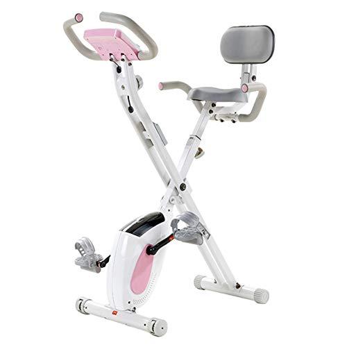 HyXia Bicicleta Estática con Respaldo SillíN Ajustable Y Pantalla LCD para El Entrenamiento De Brazos Y Piernas Minibicicleta Estática Plegable,Blanco