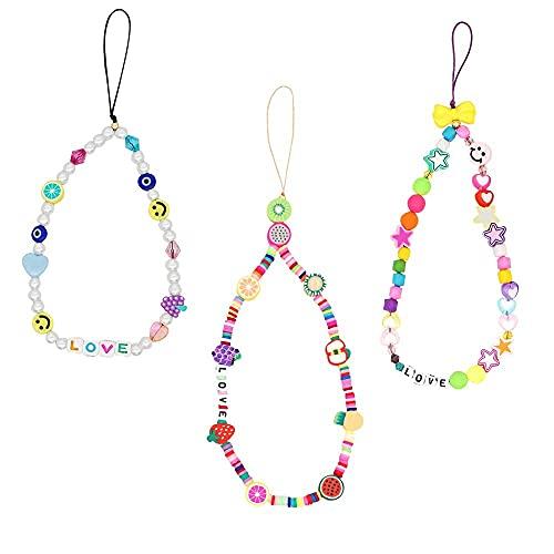 XFSSFWB 3 unids Móvil Teléfono Coche Key Lanyard Strap Smily Face Fruit Star Letra Love Pearl Rainbow Hecho A Mano Llavero para Mujeres Chicas (Color : Color)