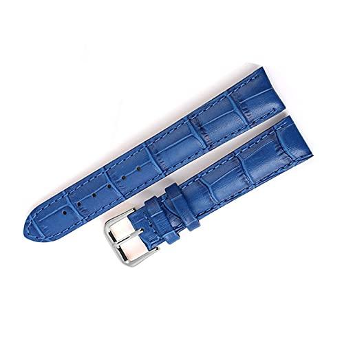 Correa Piel Reloj 12 14 16 18 20 22mm de Reloj Reloj de Reloj de Reloj Accesorios de Reloj de Reloj de Cuero Correa de Correa de Reloj Correa Reloj (Band Color : Blue)