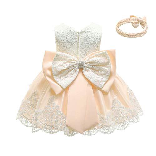 Gaga city Mädchen Bowknot Spitze Prinzessin Kleid Blumenmädchenkleid Taufkleid Festlich Kleid Hochzeit Geburtstag Partykleid Festzug Babybekleidung Outfits Champagner/6M
