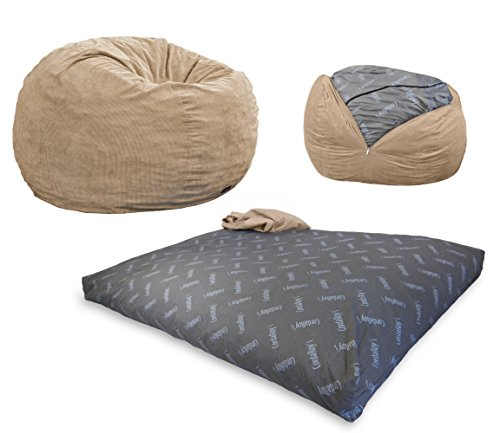 CordaRoy's Corduroy Bean Bag Chair, Convertible Chair Folds from Bean Bag to Bed, As Seen on Shark Tank, Khaki - King Size