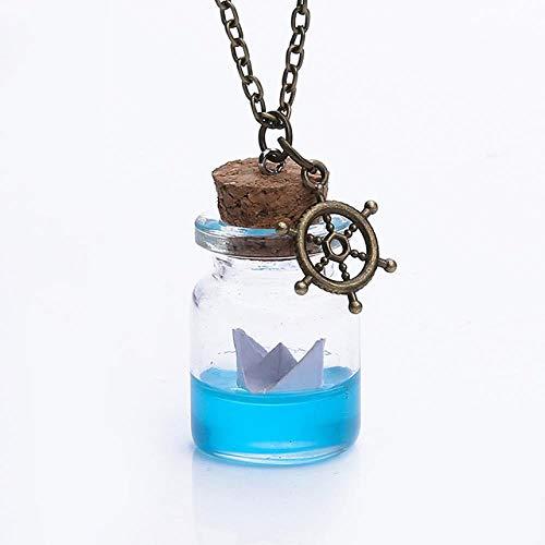 LHXMY Transparente Glasabdeckung Anhänger Halskette Handgemachte Wunsch Löwenzahn Getrocknete Blume Pflanze Muschel Halskette Schmuck, Papierboot