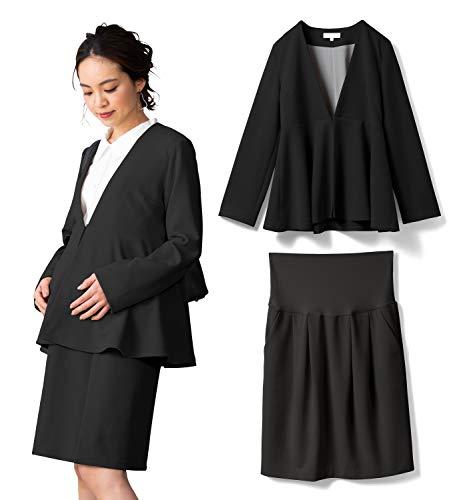 Sweet Mommy マタニティスーツ ジャケット スカート 2点セット ウエストリブスカート ノーカラーペプラムジャケット ブラック M