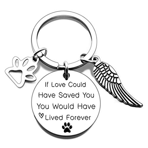 Pet Memorial Gift Keychain for Dogs Cats Personalized Loss of Pet Sympathy DIY Crafts Keepsake If Love Could Have Saved You, You Would Have Lived Forever Key Ring