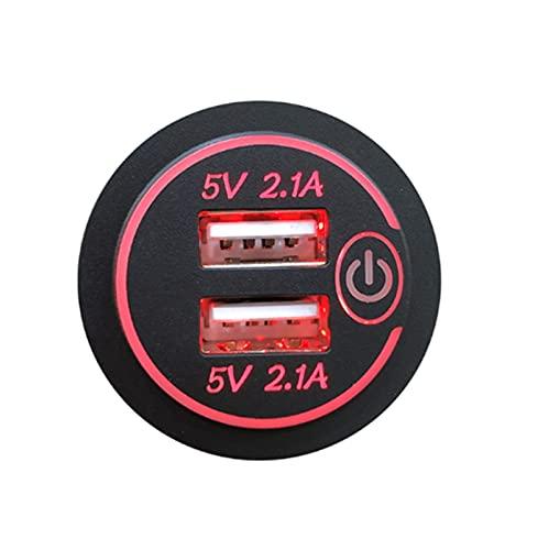 QAZWSXED LESANGBAIHUODIAN 4.2A Dual USB Adaptador de Salida de Potencia de Carga rápida del zócalo con el Interruptor táctil Ajuste Impermeable para el camión de la Motocicleta del Coche RV Barco