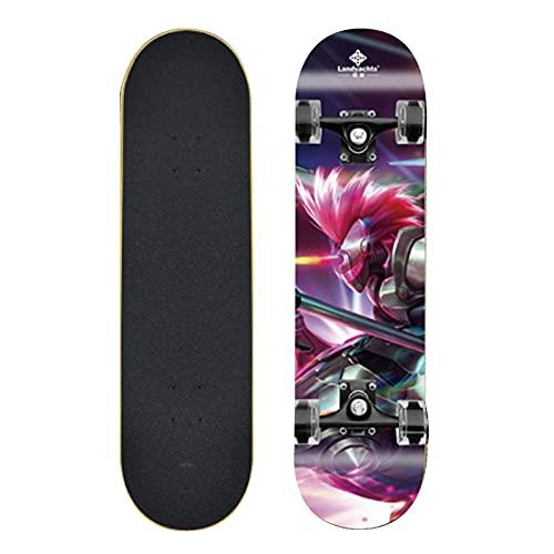 Skateboard Complete 31'x8 9 Capas De Arce Estándar Tableros De Skate Longboard Hecarim Skateboard para Niños De 6 A 12 Años Adolescentes