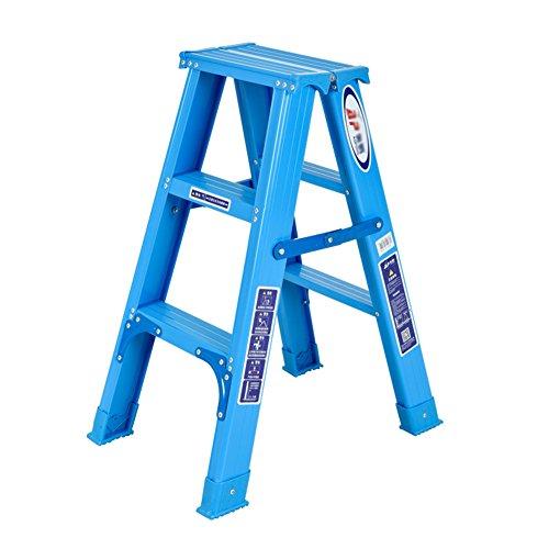 Ladder mit Fischgrätmuster 3 Stufen Klappleiter Haushalt Leiter aus Aluminium Schritt for Familie, Werkstatt, Garage Stabilität und Sicherheit