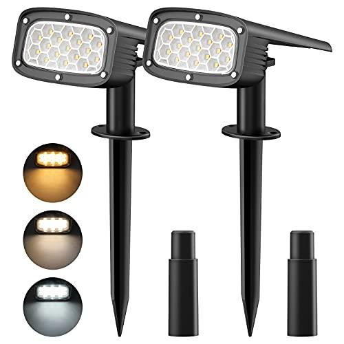 KEBAMO Lampade Solari da Giardino, 34 LED Luci Solari Esterno a Tre Temperature di Colore, Faretto...