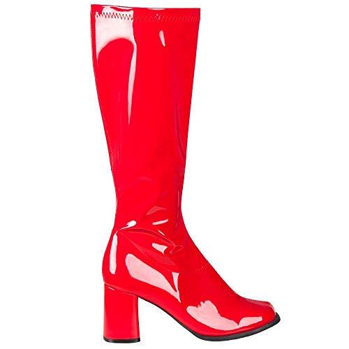 Boland 46265 - Stiefel Retro, Rot, langer Schaft, Synthetik, Blockabsatz 8 cm, Reisverschluss, Spacy, Schlager, cooler Look, Karneval, Halloween, Fasching, Mottoparty,...