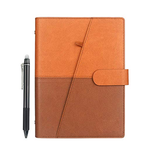 HOMESTEC Cahier Intelligent Réutilisable, Stylo Inclus(6.9 X9 Pouces PU A5 Marron)