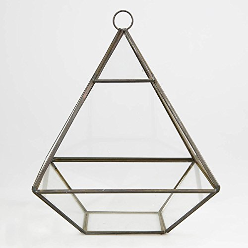 Zinc & Glass Pyramid Shaped Terrarium Candle Holder Lantern Glasshouse Planter