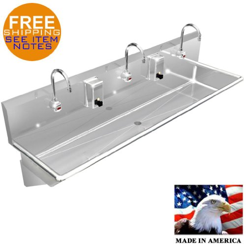 """WASH UP Hand Sink 3 Users Multi Station 60"""" ELEC. Faucet Stainless Steel Heavy D"""