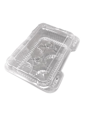 Mr Miracle 6 Compartment Cupcake or Small Muffin Clear Clamshell Container. Cupcake Slots are 2.5 x 2.5 inches and Overall Container is 2.5 Inches Tall. Pack of 10