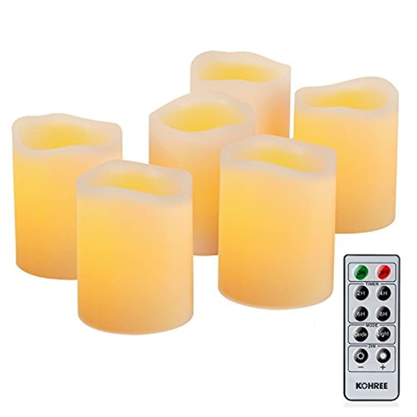 Kohree Real Wax Candle LED Flameless Candle Remote Control Candles Battery Operated Retro Unscented Ivory Votive Pillar Candles Light, Warm White Pack of 6