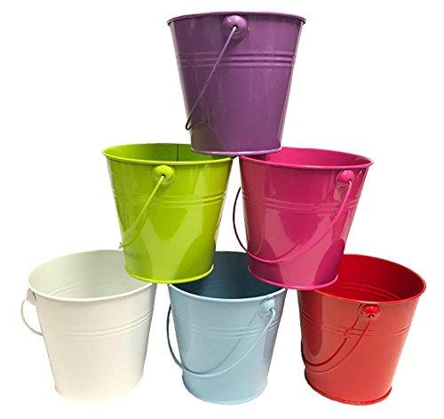 Kleiner Metall-Eimer als Übertopf / Blumentopf, 13cm, leuchtende Farben, rose, 13cm Pink Tin Bucket