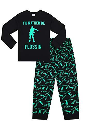 """Pijama largo de algodón verde con texto """"I Rather Be Flossin Dance Gaming (11-12 años)"""