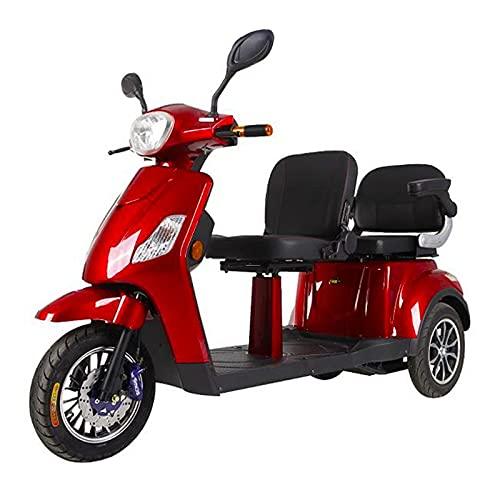 Triciclo Scooter Doble TS10 de doble asiento, Personas mayores, Minusválidos, Movilidad reducida, 500w, Azul y Rojo
