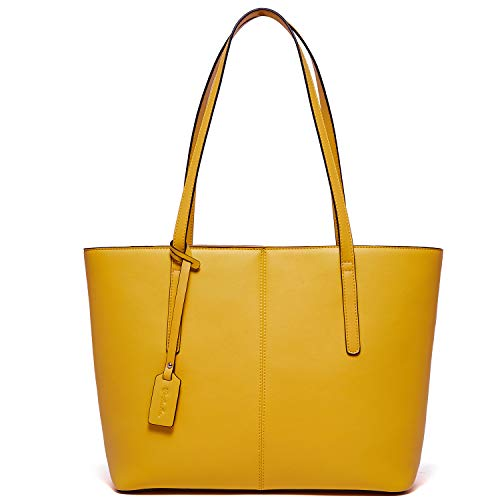 BOSTANTEN Women Handbag Genuine Leather Tote Shoulder Purses Yellow