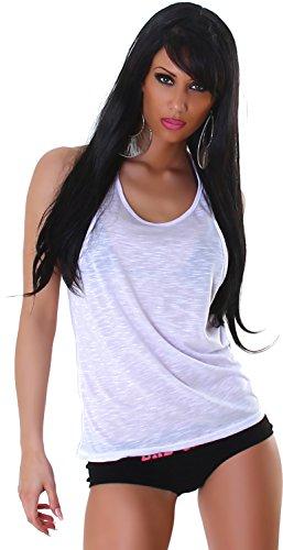 Jela London Top Damen Sommer Shirt Loose-Top Tanktop Rundhals Trägertop Trägershirt 34 36 38 40 Weiß