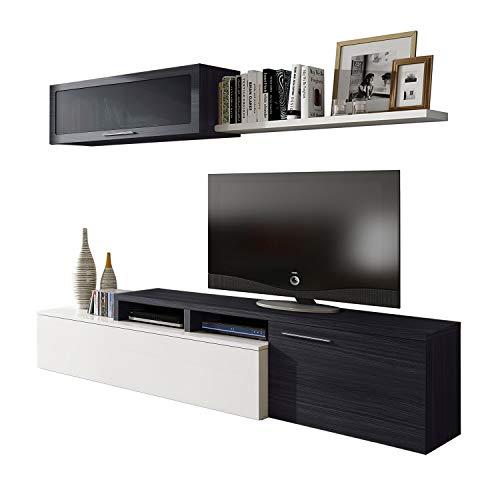 Habitdesign - Mueble de salon Comedor Moderno, Medidas: 200x41/34x43 cm de Alto (Gris Ceniza)