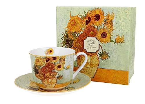 Duo Jumbotasse und Untertasse Sunflower von Van Gogh 400ml Riesentasse Unterteller große Kaffeetasse Kunst Kaffee-Tasse Jumbo-Tasse Riesen-Tasse Unter-Tasse Art Porzellan Unter-Teller