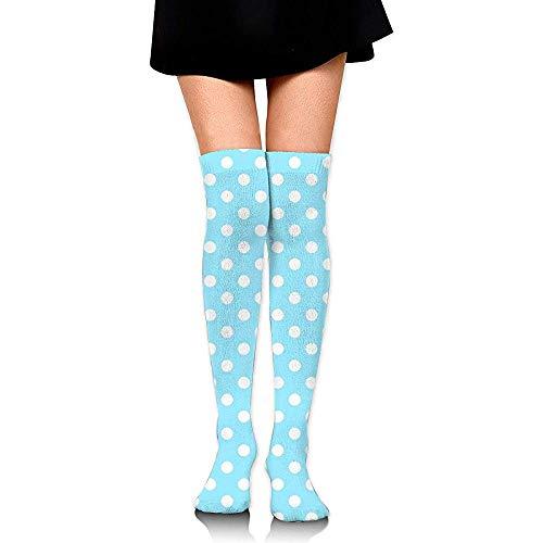 NotApplicable Sportliche Socken Hellblaue, Gepunktete Strümpfe Mit Kniestrümpfen Bedrucken Lange Strümpfe Mit Personalisierter Strumpfgröße 60 Cm