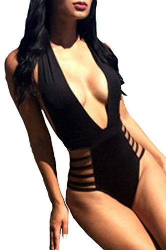 Happy Sailed Women's Modern Plunge Neck Strappy Backless Teddy Swimsuit Large Size Black