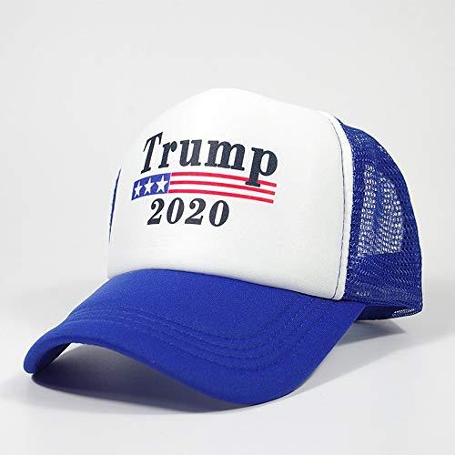 Vinteen 2020 Die Neue Trump Sommer-Breathable Mesh Cap Druck Biegung entlang Baseballmütze Dreieck Visor Wilder Truck Wagon Hut Männer und Frauen (Color : Blau)