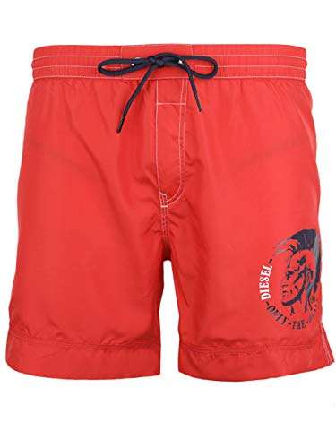 Diesel Men's Wave Mohican Logo Swim Short, red, Small
