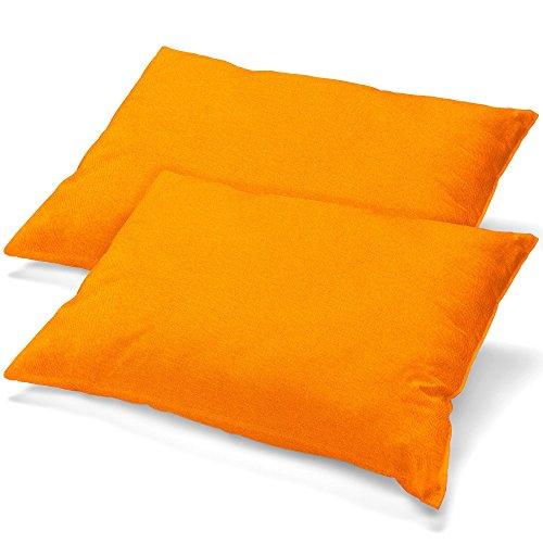 aqua-textil Classic Line Housse de Coussin Lot de 2 Fermeture Éclair Coton 40 x 80 cm Orange