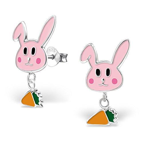 Tata Gisele - Orecchini pendenti da bambino, in argento rodiato 925/1000 e resina epossidica, motivo: coniglio rosa con carota sospesa, 13 mm