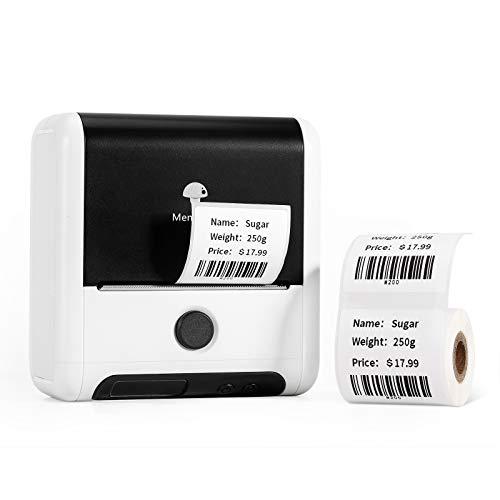 Etikettendrucker - Bluetooth Drahtloser Etikettendrucker für Privatanwender, Unternehmen, Adressen, Barcodes, Versand, Memoking Kompatibel mit Phomemo M200 Etikettendrucker für Android und iOS - Weiß