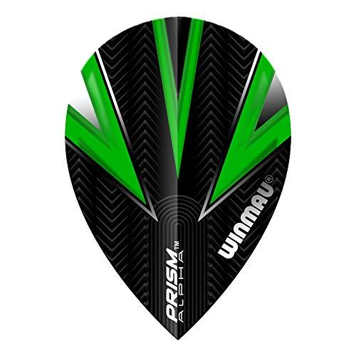 WINMAU Prism Alpha Black & Green Extra Dicke Dart Flights - 1 Sätze pro Packung (3 Flights insgesamt)