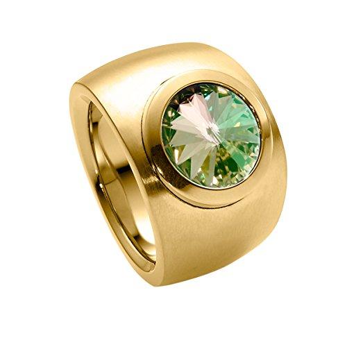 Heideman Ring Damen Coma Verlauf aus Edelstahl Gold farbend matt Damenring für Frauen mit Swarovski Stein Kristall gelb grün im Fantasie Edelsteinschliff 10mm
